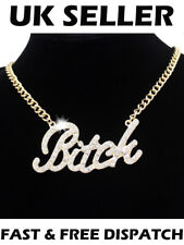 Celebrity Urban Gold Bling Bitch Word Crystal Pave Chunky Chain Necklace Hip Hop