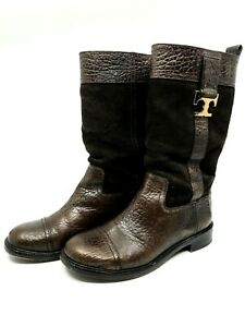 Tory Burch Corey Brown Suede & Leather Mid-Calf Boots Rubber Soles Size 7.5