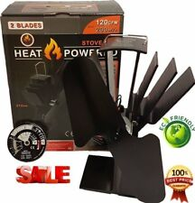 2 Blade Heat Powered Stove Top Fan & FREE Thermometer Wood & Coal Fire Burners#E