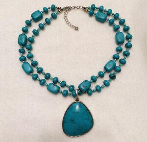 Premier Designs Faux Chunky Turquoise Cabochon Pendant Necklace