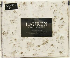 Ralph Lauren 4 PC Cotton Sheet Set Shabby Floral Taupe Brown Ivory Queen - NEW