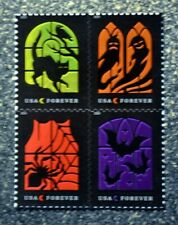 2019USA Forever Spooky Silhouettes - Block of 4  Mint  halloween