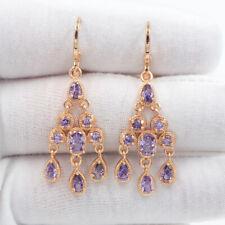 18K Yellow Gold Filled Women Purple Mystic Topaz Chandelier Earrings Jewelry
