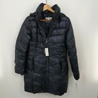 Via Spiga Quilted Down Puffer Jacket Size Small Navy Hooded Zip Packable