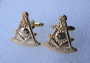 Pre-Owned Cuff links Freemason Square Compass Light Sun Mason #477