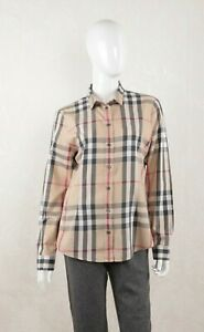 Women's Burberry Brit Cotton Beige Nova Check Shirt Size M 175/92