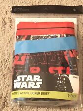 Star Wars Men's Active Boxer Briefs 2 pack Size Small 28-30 Disney New