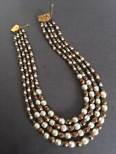 VINTAGE GLASS FAUX PEARLS BEADS MULTISTRAND NECKLACE WITH FILIGREE SEPARATORS