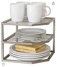 New listing 2 Seville Classics 2-Tier Corner Shelf Counter and Cabinet Organizers, Platinum