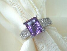 Judith Ripka SS Beveled Emerald Cut  Lavender Amethyst   925  Size 7  & New!!