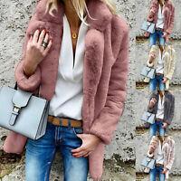 Womens Fleece Fur Parka Jacket Cardigan Fluffy Winter Coat Teddy Bear Outwear