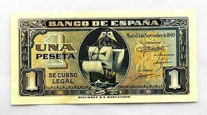 Spain-Billete. 1 Peseta 1940. Madrid. Serie G. SC/UNC. Apresto original.