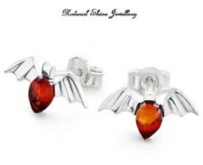 Stud Earrings 925 Sterling Silver Natural Baltic Amber Angels 15 x 8 mm