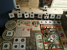 Estate lot.Silver coins, old postcards & stamps,1958 sporting news, vintage pics
