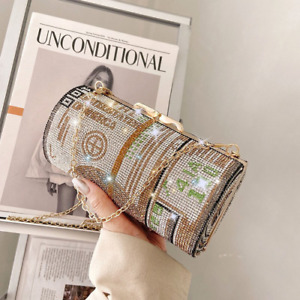 Crystal Diamond Painting Evening Clutch Women's Round Coin Purse Shoulder Bag
