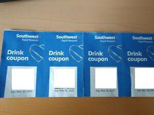 FOUR (4) SOUTHWEST Air Drink Coupons Rapid Rewards Alcohol, Exp. 11/30/2020