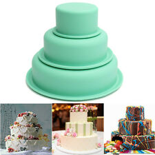 Silicone 3 Cake Pan Round Baking Bakeware Mold Pastry Tray Mould Tin 8 15 20cm