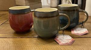 La Rochelle Stoneware Ceramic Pottery Artisan Crafted Mugs Set of 3 New SEE PICS