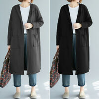 UK Womens Long Sleeve Casual Loose Hoodies Cardigan Coats Hooded Jackets Outwear