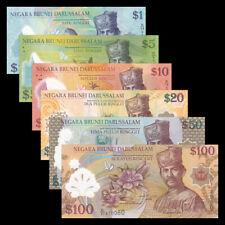 Brunei Set 6 PCS, 1 5 10 20 50 100 Ringgit, Polymer, UNC