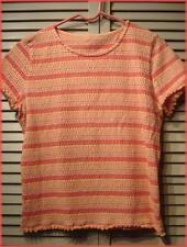 "Orange Sherbet Striped Knit Top (M) Short Sleeve - Pucker Knit 36"" bust"