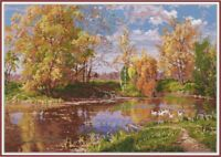 Counted Cross Stitch Kit OVEN - Autumn pond
