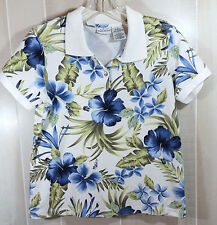 Womens Med Tropical Print Henley Style Shirt White Stag White/Blue Pretty WT56