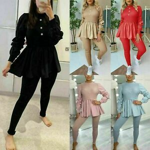 Womens Ladies Ribbed Frill Peplum Loungewear Suit Shirt Contrast Tracksuit Set