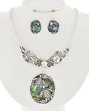 "Ocean Sealife Inspired ""SeaTurtles"" Abalone Necklace & Earring Set  Silvertone"