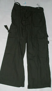 Ladies NEXT Dark Green Cargo Trousers Size 12R Lightweight Outdoor Belted Pants
