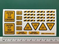 WARNING REFLECTIVE STICKERS container 40ft 20ft 1/14 Tamiya 56516 56330 56326