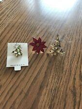 Vintage Holiday Christmas Rhinestone Pins Trees & Poinsettia-total of 3