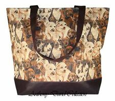 Puppy Dog Dogs Brown Tapestry Style Tote Bag Large Purse with faux leather trim