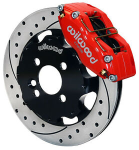 """WILWOOD DISC BRAKE KIT,FRONT,MINI-COOPER,BMW,12"""" DRILLED ROTORS,RED CALIPERS"""