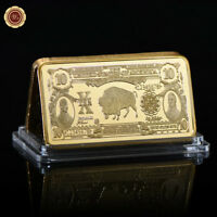 WR 24K Gold Dollar Bar Set 1901 US$10 Gold Certificate Bill Note Antique Collect