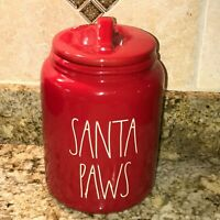 Rae Dunn By Magenta Red SANTA PAWS Canister LL Christmas Brand New