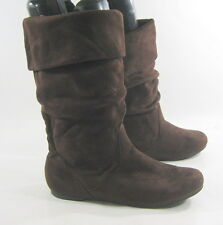 Brown Flat Slouch Comfortable Round Toe Sexy Mid-Calf Boot Size 5.5