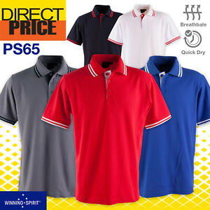 Mens Polo Shirts Work Casual Short Sleeve Sports Team Contrast Breathable PS65