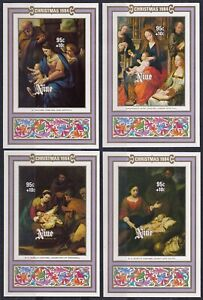 NIUE 1984 Christmas IMPERF Plate Proofs, Set of 4 M/S's