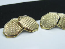 Ornate Antique Art Deco era Solid Yellow Rose Gold Cufflinks Guilloche Engrave