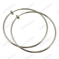 Clip On 6cm Silver Tone Polished Hoops Hoop Earrings Look Pierced Fashion 60mm