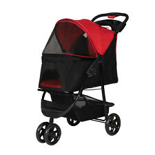 Pet Stroller Portable Pet Carrier Stroller for Dogs Cats Cart with Cup Holders