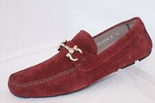New Salvatore Ferragamo Parigi Men's Shoes Size 11 E Loafers Drivers Rouge