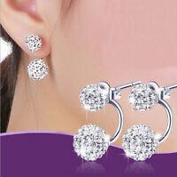 Neu'Damen Doppel Perlen Ohrringe Kristall Zirkonia Ohrstecker 925 Silber Pleated