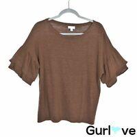 J.Jill Size L Women's Top Love Linen Bell Sleeve Brown Tunic