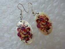 EARRINGS REAL 100 % NATURAL MOTHER OF PEARL HAND PAINTED FLOWERS ART DESIGNER