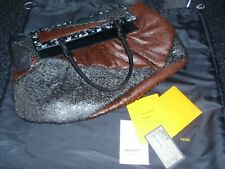 "Fendi brown grey Calf hair Convertible ""To You"" Bag clutch handbag shoulderbag"