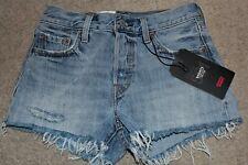 Womens Sz 25 0-1 Levis 501 Jean Shorts Raw Hem Mid Rise Button Fly Medium Wash