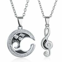 Couple Silver Women Men Music Note Crystal Pendant Necklace Chain Jewelry Party
