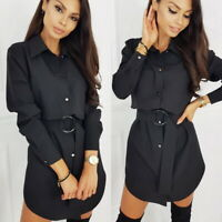 Womens Button-Down Shirt Dress Lady Long Sleeve Work Office OL Blouse Tunic Tops